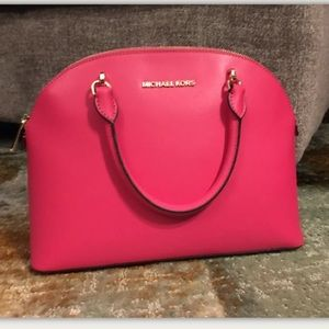 Michael Kors Large Dome Emmy Leather Satchel Pink